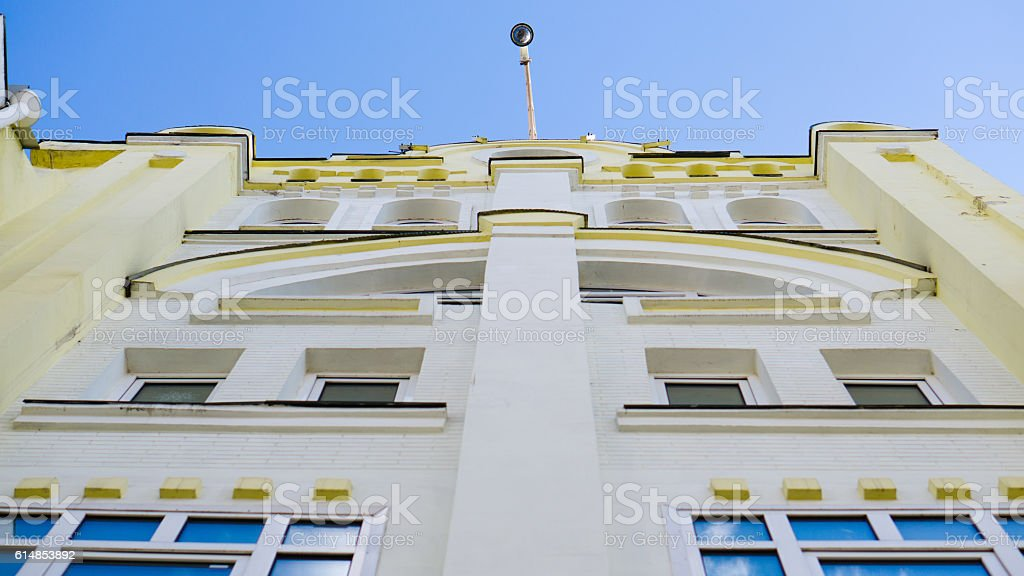 point of view from the ground into the sky on stock photo