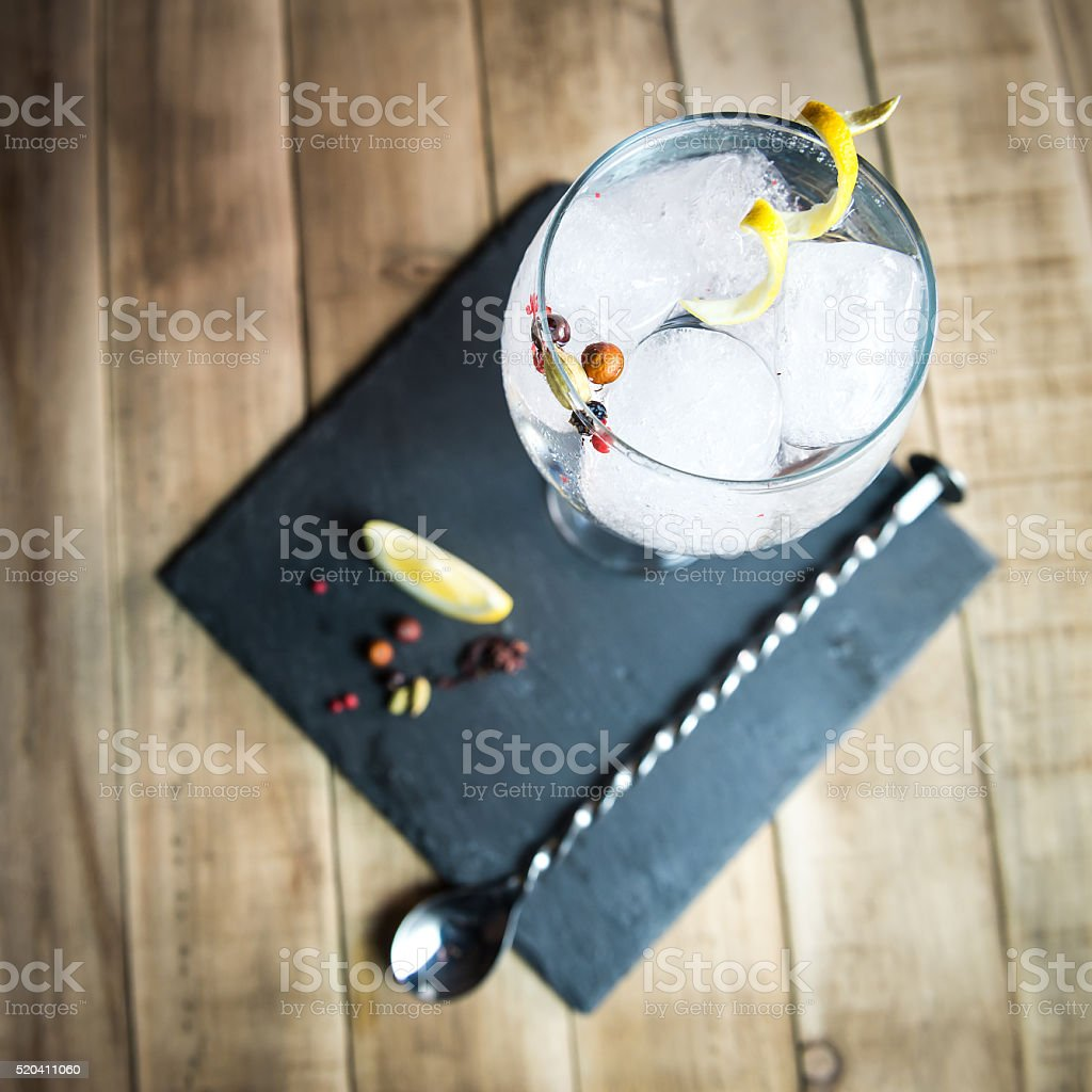 Point of view of Gin tonic. stock photo