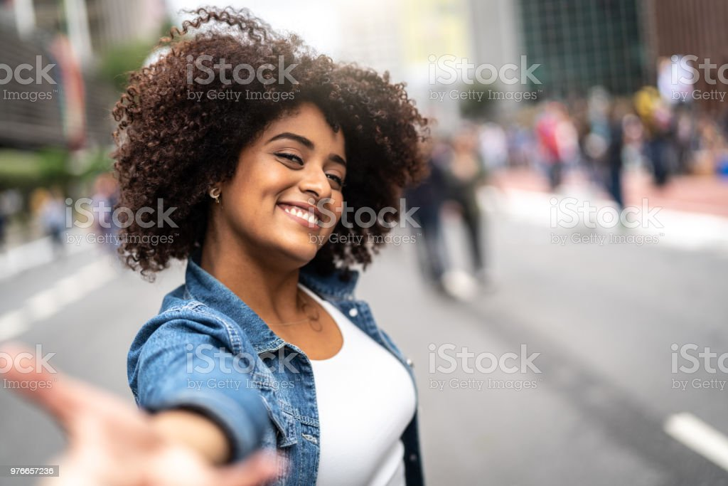 Point of View of Girlfriend Holding Hands of Boyfriend stock photo