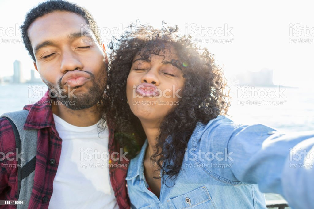 Point Of View Young Couple Posing Silly For Selfie Royalty Free Stock Photo