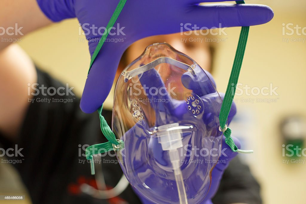 Point of view oxygen mask and doctor stock photo