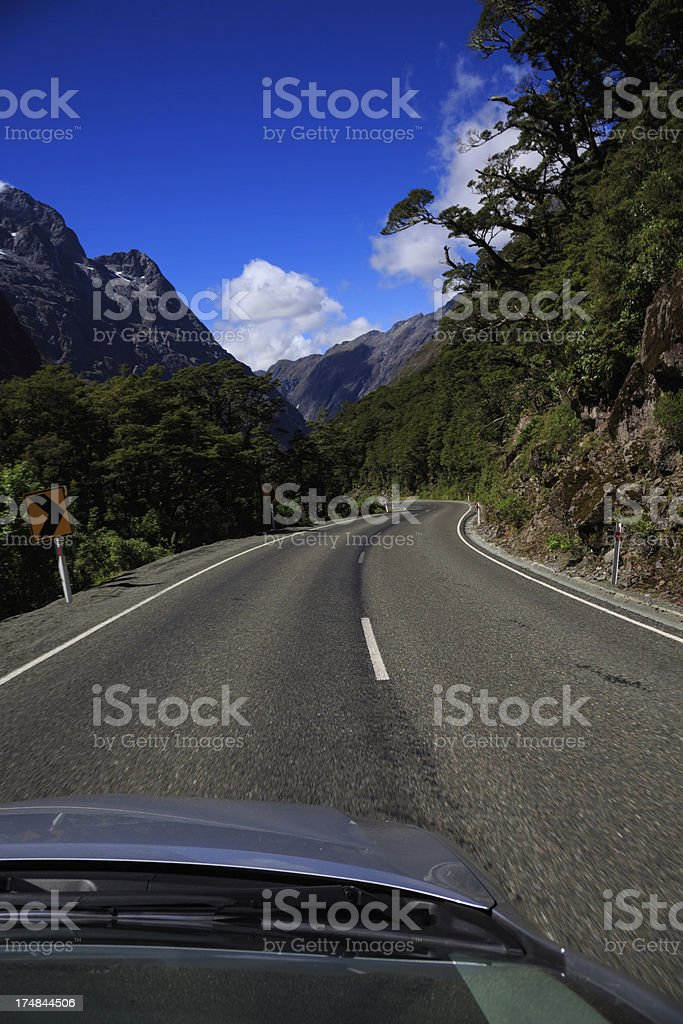Point of View Road Trip to Milford Sound, New Zealand stock photo