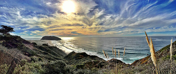 point sur panorama - central coast california stock photos and pictures