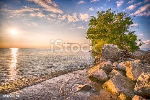 istock Point Pelee National Park beach at sunset 854222674