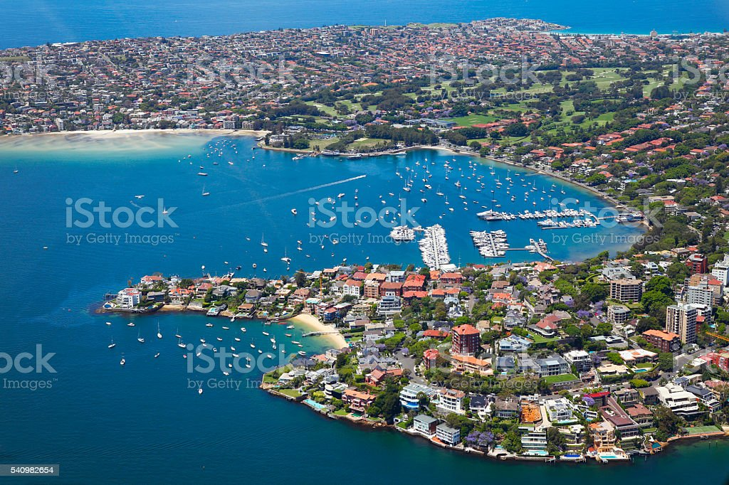 Point Piper and Rose Bay in Sydney stock photo
