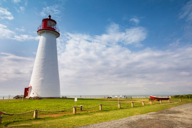 point prim lighthouse pei canada - prince edward island stock photos and pictures