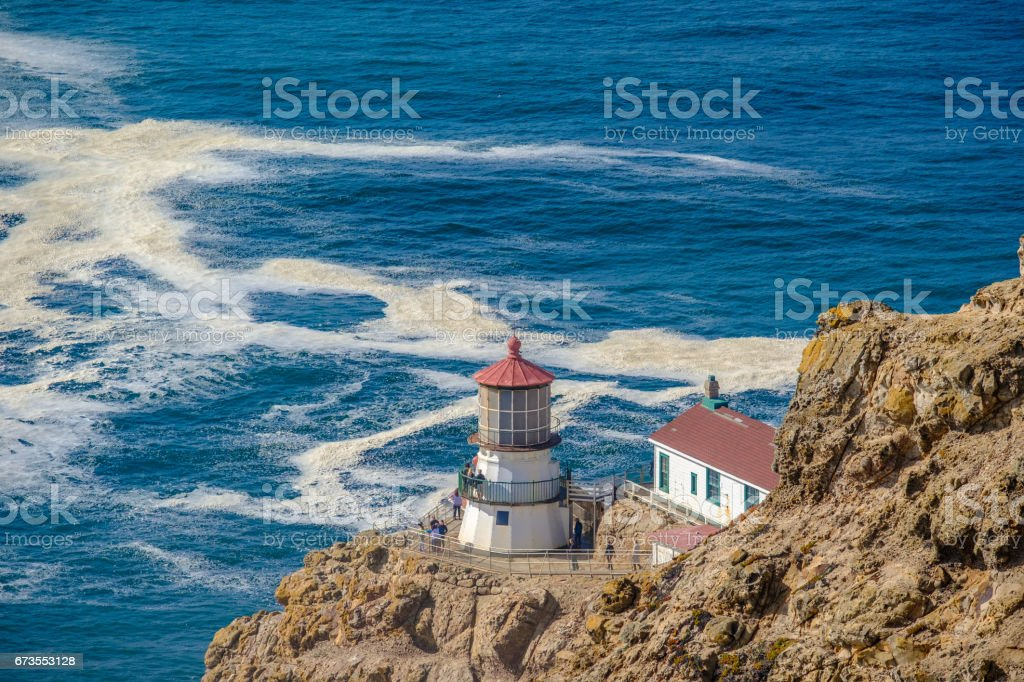 Point Reyes Lighthouse at Pacific coast, built in 1870 stock photo