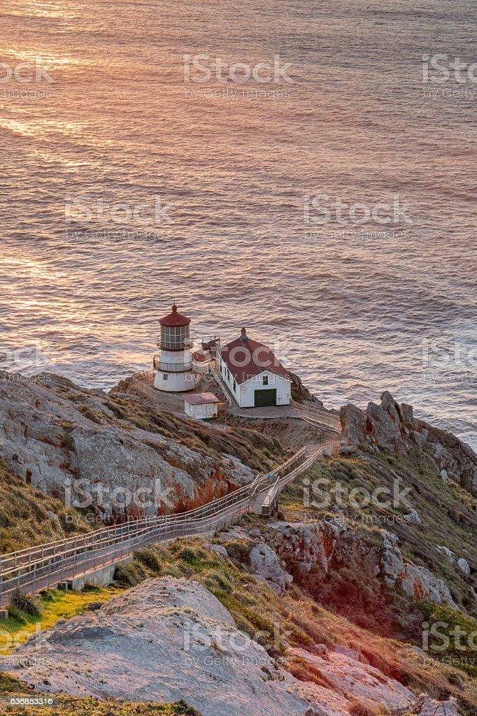 Point Reyes Lighthouse, Sunset. Point Reyes National Seashore, North California. stock photo