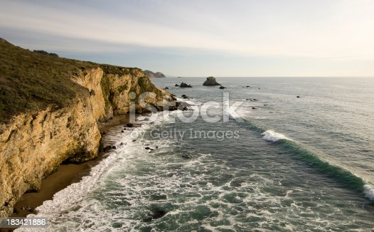 The view south along the coast from Arch Rock in Point Reyes National Seashore.
