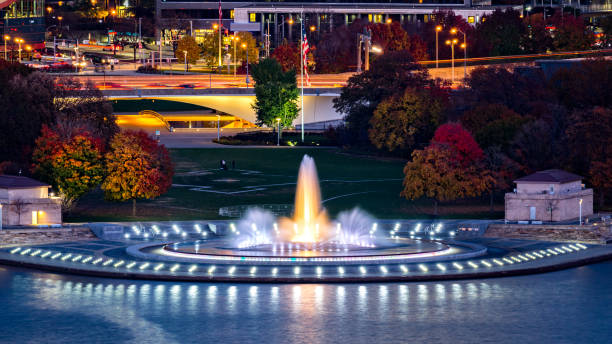 Point State Park in Pittsburgh Point State Park in Pittsburgh, Pennsylvania and the iconic illuminated water fountain. pittsburgh stock pictures, royalty-free photos & images