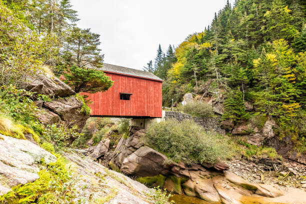 Point Wolfe Covered Bridge in New Brunswick, Canada stock photo