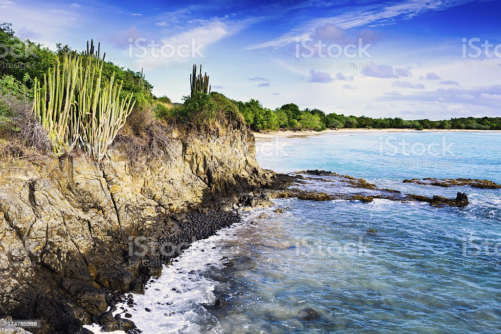 Pointe Catherine and the Caribbean Sea, Martinique stock photo