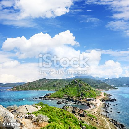 The Pointe de la Parata is rocky promontory, to the north of the Iles Sanguinaires, Ajaccio bay, Corsica, France