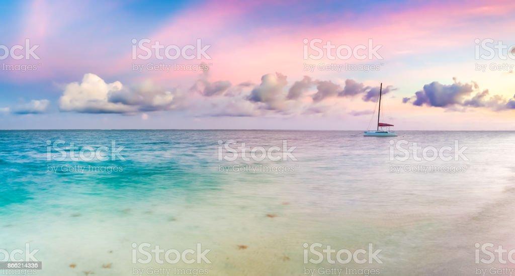 Pointe d ' Esny Strand bei Sonnenuntergang, Mauritius. Panorama – Foto