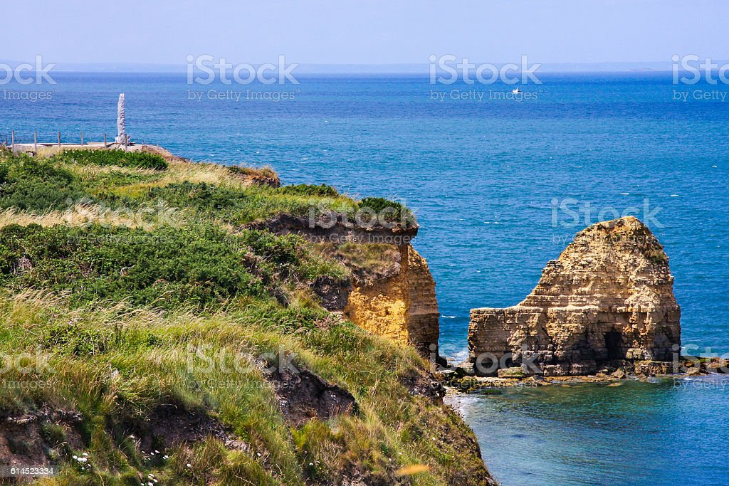 Pointe du Hoc and the Ranger Monument, Normandy, France stock photo