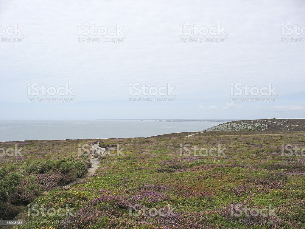 Pointe du Van and sea coast in Brittany stock photo