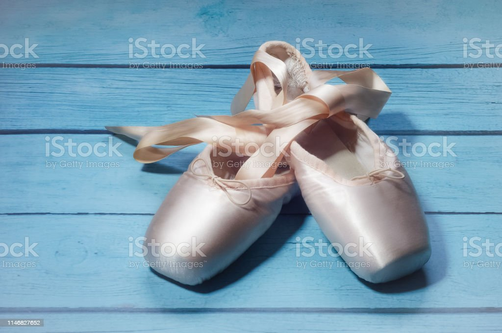 Pointe shoes ballet dance shoes with a bow of ribbons beautifully...