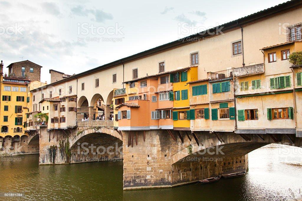 Pointe Vecchio Bridge of Florence, Tuscany Italy stock photo