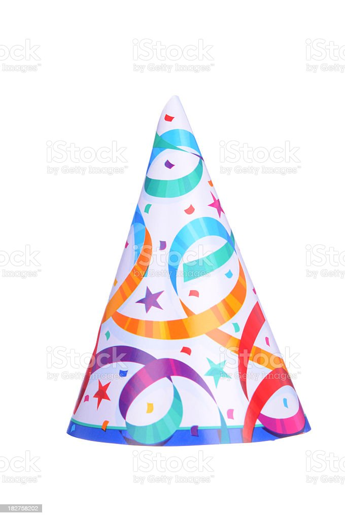 Pointed party hat with colorful streamers on stock photo