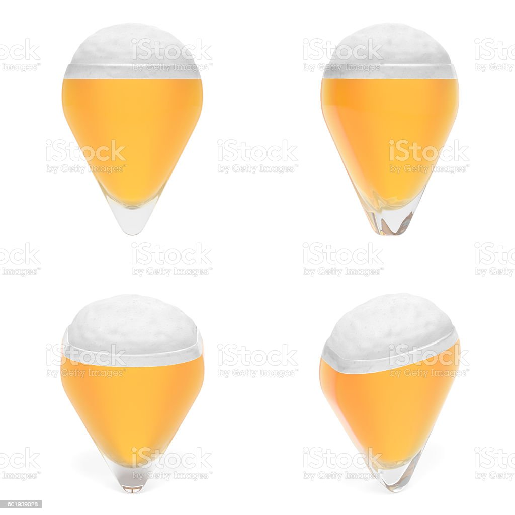 Pointer map as glass of beer (set). Octoberfest or beer festival stock photo