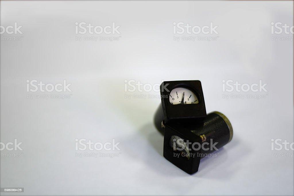 Pointer-type microammeter on white background stock photo