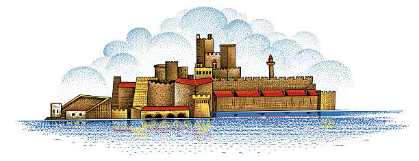 Pointillism Drawing Historic Castle stock photo