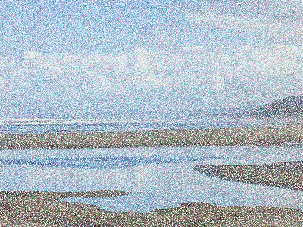 Pointillist ocean beach abstract in the Pacific Northwest