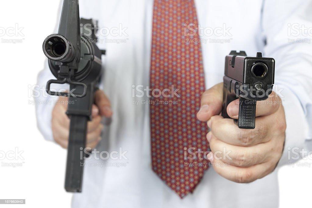 pointing a gun to you stock photo