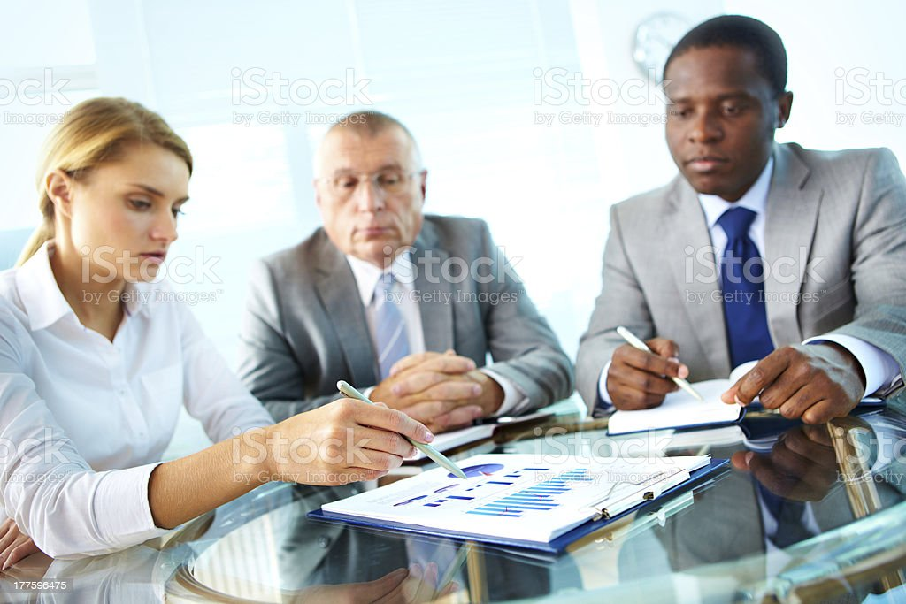 Pointing at document royalty-free stock photo