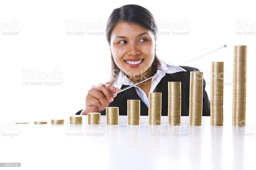 Pointing at the end year profit graph royalty-free stock photo