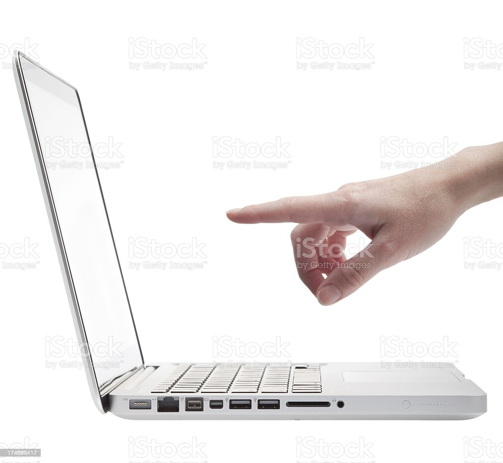 pointing at the laptop (XL) royalty-free stock photo