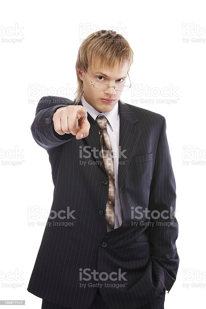 pointing businessman royalty-free stock photo