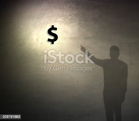 istock Pointing dollor sign on grunge background 526791663