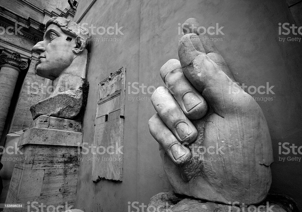 Pointing finger of the Emperor Constantine stock photo