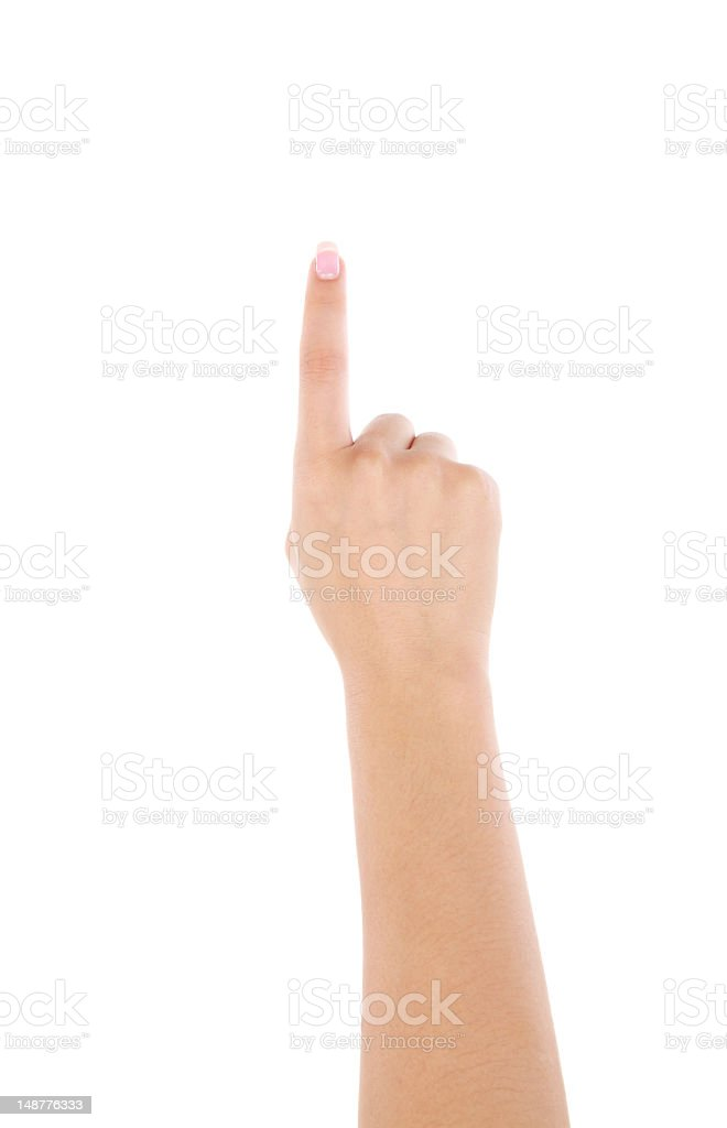 Pointing gesture on white background stock photo