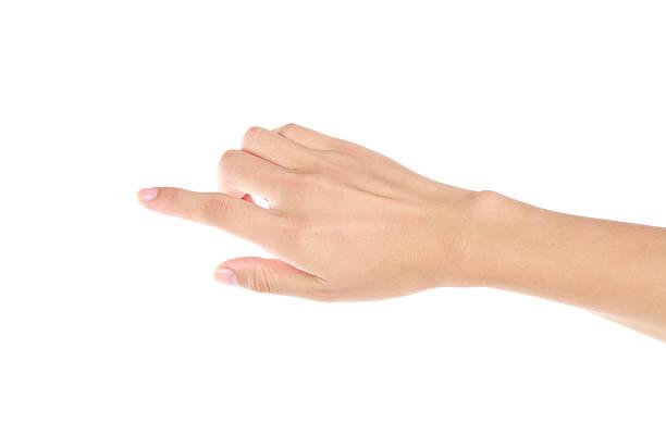 Zeigt Geste auf weißem Hintergrund – Foto