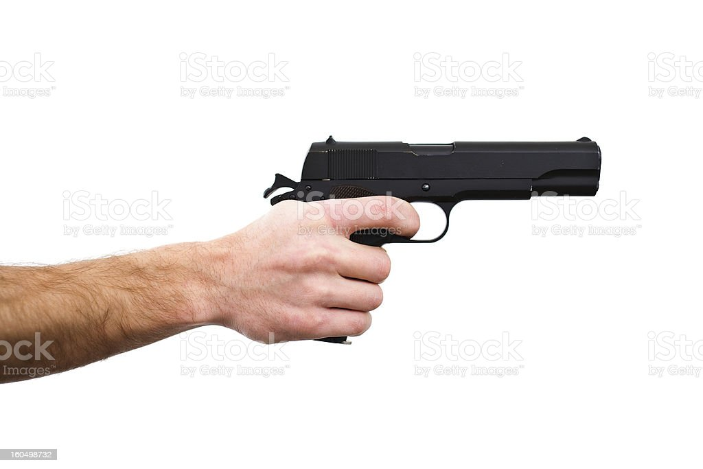 Pointing gun royalty-free stock photo