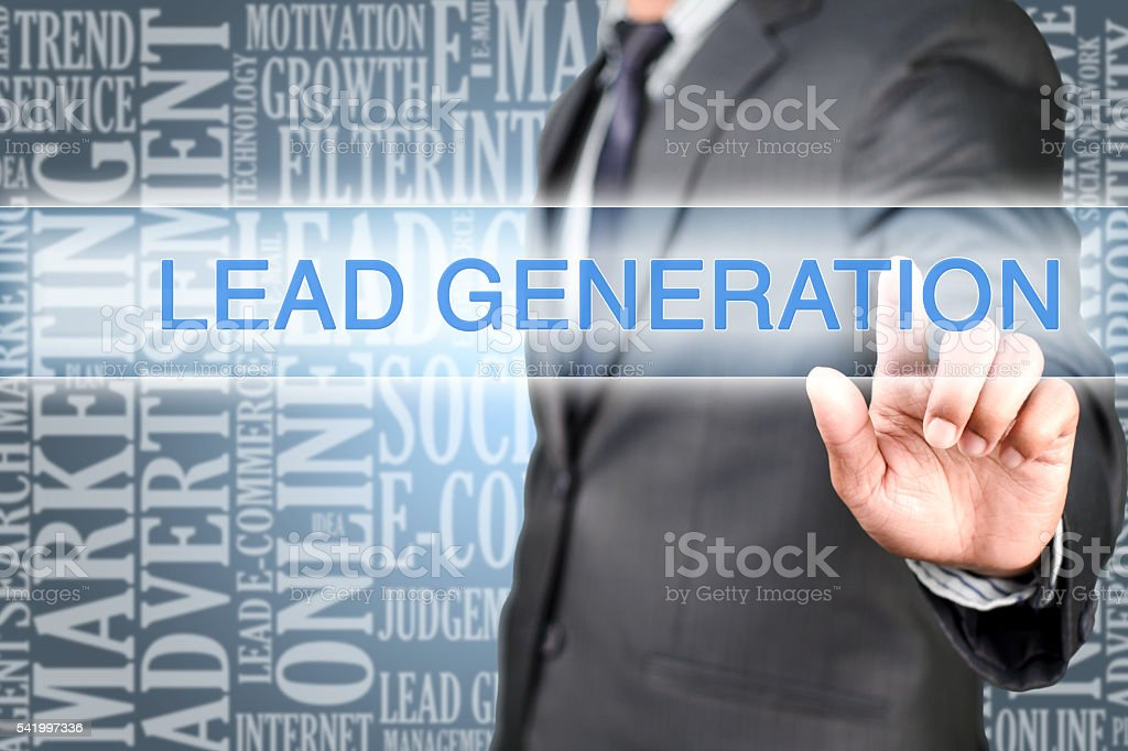 Pointing into lead generation stock photo