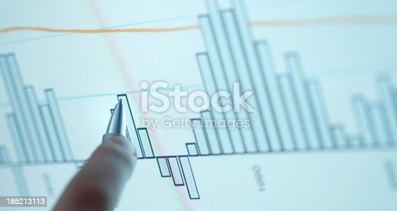 istock Pointing on computer chart 185213113
