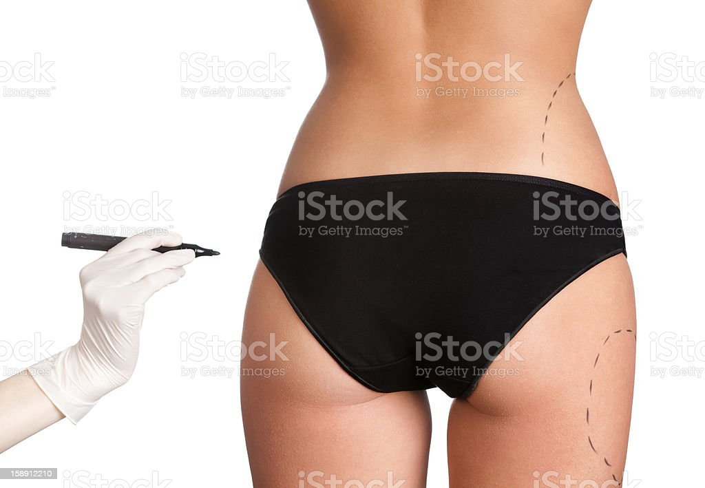 Pointing out the problem parts of body royalty-free stock photo