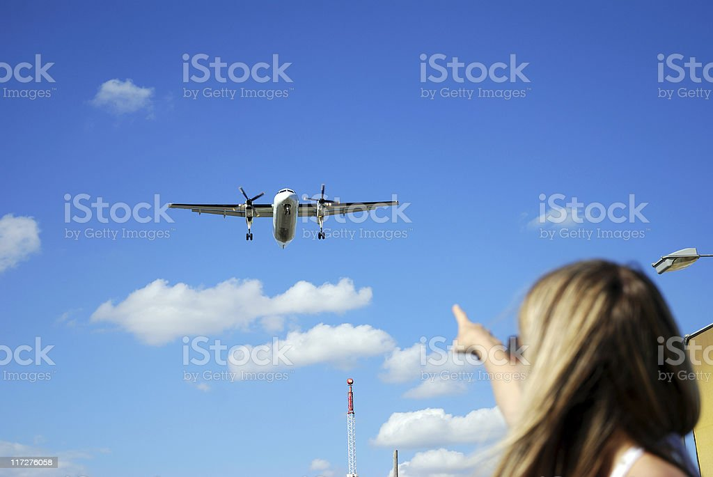 Pointing the airplane royalty-free stock photo