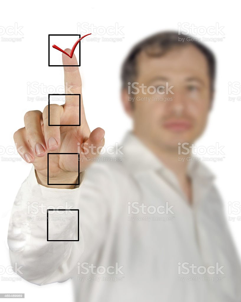 Pointing to checklist royalty-free stock photo