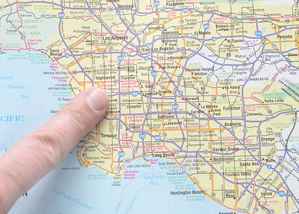Los Angeles Map Pictures Images And Stock Photos IStock - Los angeles on the map