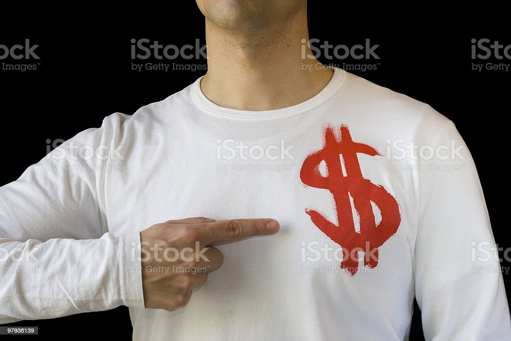 Pointing to the dollar royalty-free stock photo