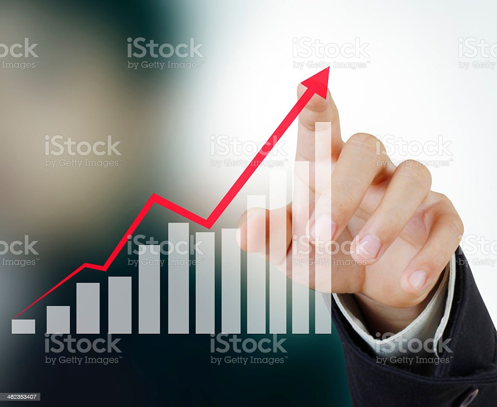 Pointing to upward financial symbol stock photo