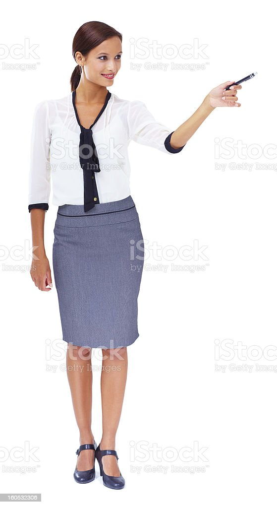 Pointing to your copyspace stock photo