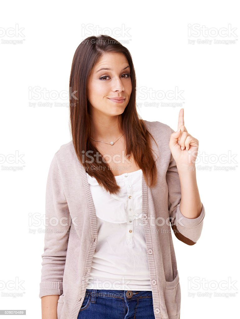 Pointing towards the answer stock photo
