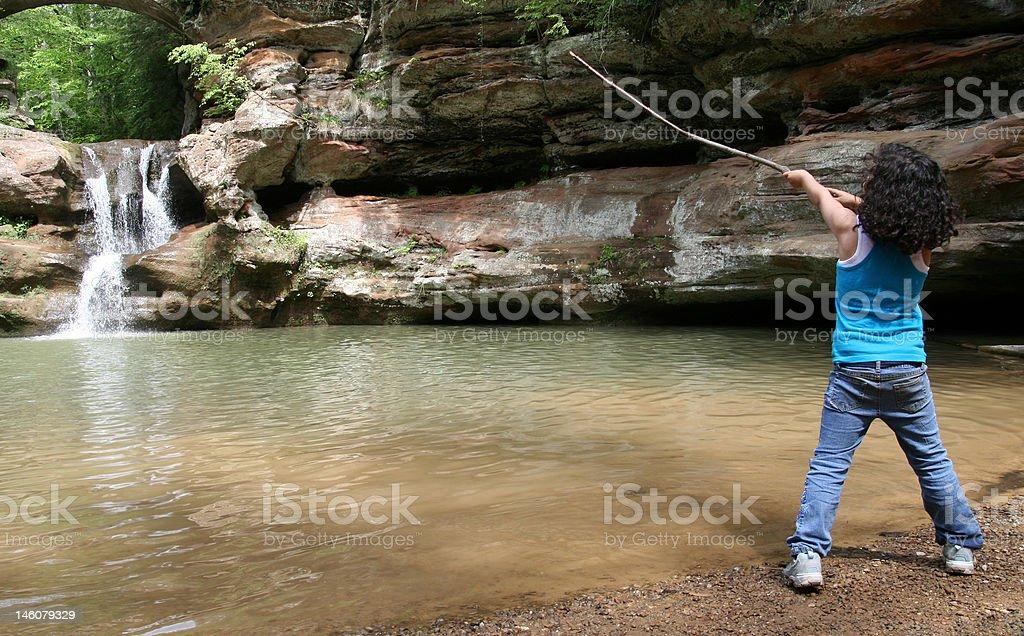 Pointing towards the Falls stock photo