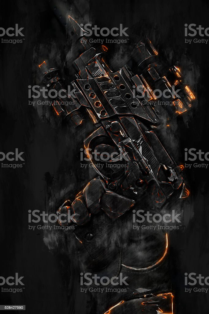 pointing up fire and smoke gun stock photo