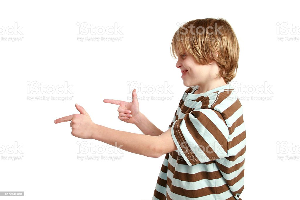 pointing with finger guns stock photo